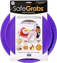 Safe Grabs: As Seen on Shark Tank Original Multi-Purpose Silicone Microwave Mat | Splatter Guard, Trivet, Hot Pad, Pot Holder, Minimize Mess (Heat Resistant, Dishwasher Safe), Set of 2, Purple