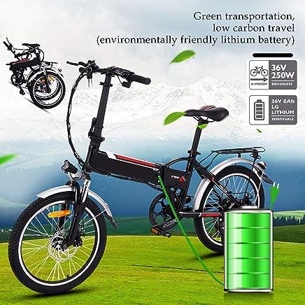 Bunao Bicicleta eléctrica de montaña, 250W, Batería 36V E-Bike Sistema de Transmisión de 21 Velocidades con Linterna con Batería de Litio Desmontable