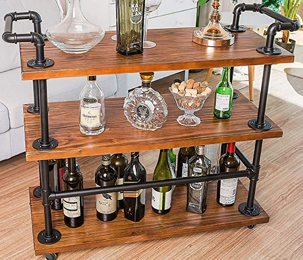 Bar Carts Serving Carts Kitchen Carts Wine Rack Carts On Wheels With Storage Industrial Rolling Carts 3 Tiers Wine Tea Beer Shelves Holder Solid Wood And Metal