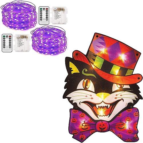 lowest Twinkle Star 2 Set popular Halloween Fairy Lights Battery Operated, Purple | Halloween discount Lighted Vintage Cat Window Silhouette Decoration sale