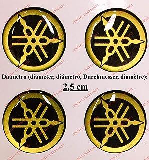 Escudo Logo Decal Yamaha, Kit de 4Pegatinas resinati, efecto 3d. ) Color Negro–Dorado. Para depósito o casco