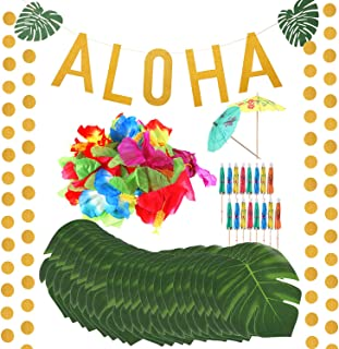 189 Pieces Hawaiian Tropical Party Decorations Set Gold Glittery Aloha Banner Assorted Circle Dots Garlands Tropical Palm Leaves Hibiscus Flowers Paper Umbrellas for Luau Party Supplies Favors