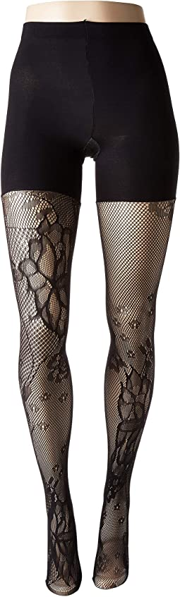 Fishnet Floral Mid-Thigh Shaping Tights