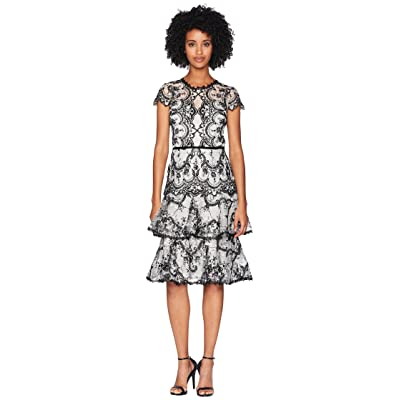 Marchesa Notte Cap Sleeve Corded Embroidered Lace Cocktail with Tiered Skirt and Velvet Trims (Black/White) Women