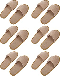 ULTNICE 6 Pairs Disposable Slippers Spa Slippers Open Toe Slippers Hotel Slippers for Men and