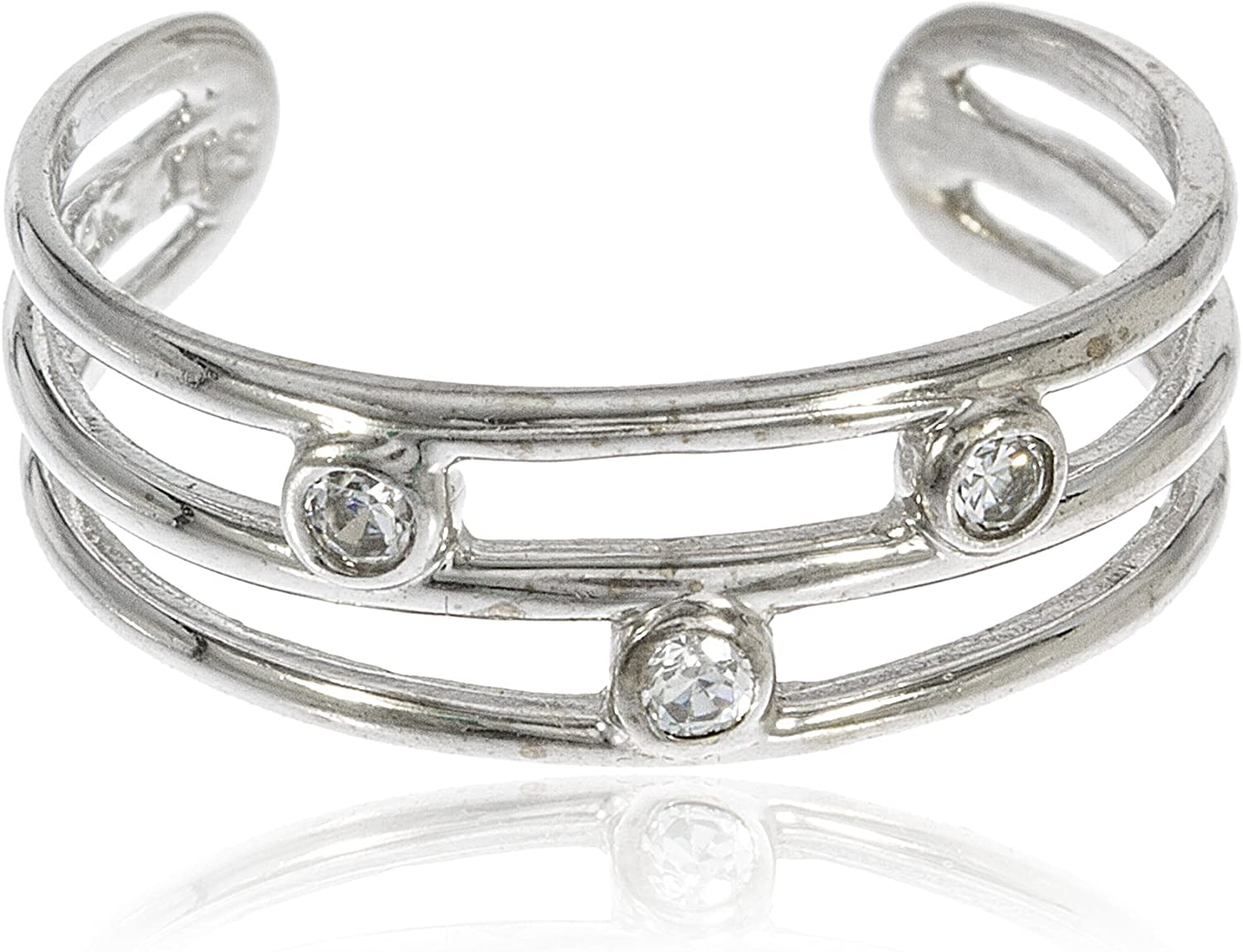 JOTW 10k White Gold Three Wire Toe Ring with Stones (GO-695)