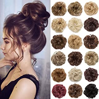 S-noilite Hair Bun Extensions Messy Wavy Curly 2 Pieces Dish Donut Scrunchie Hairpiece Accessories Chignons Updo Ponytail Pony Tail Synthetic Hair Extension for Women Girl -2 Piece 80G Medium Brown to Dark Auburn