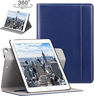 Ztotop Case for iPad 9.7 2018/2017 - 360 Degree Rotating Stand/Genuine Leather Cover with Auto Wake/Sleep, Pencil Holder,Card Pocket for New iPad 9.7'' 5th/6th Gen, iPad Air 2/iPad Air,Navy Blue