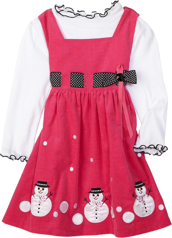 Bonnie Jean Little Girls' Dress Corduroy Jumper Set With Snowman Appliques