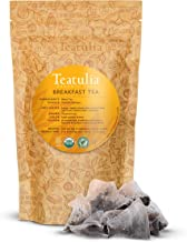 Teatulia Organic Whole-Leaf English Breakfast Tea Bulk Pack, 50 Premium Corn Silk Pyramid Tea Bags | Natural Caffeine & Aw...