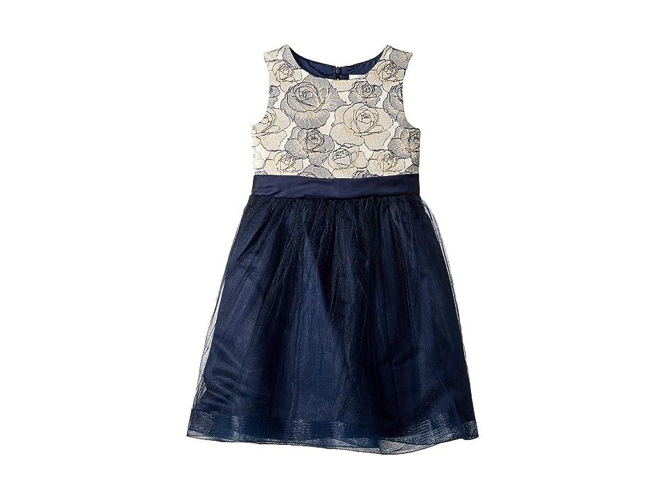 Us Angels Embroidered Mesh Dress (Little Kids) (Navy) Girl