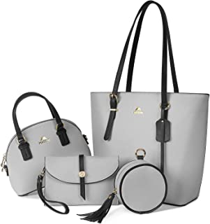 Purses and Handbags for Women 4pcs Set, Fashion Tote Bags Shoulder Bag with Adjustable Top Handles Waterproof Leather Wallets Satchel Hobo Handbag for Daily Travel Work, Grey