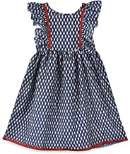 K&U Girl's Printed Frock Short Dress Tradiitional ethnic Navy Blue Maroon Frill Sleeved Kurti Cute party festive wear