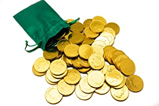 St. Patrick`s Day Green Pouch w/ 20 Milk Chocolate Gold Coins - Linen Drawstring Bag - Golden American Half Dollar Coins - St. Paddy`s Day Wedding and Party Favors