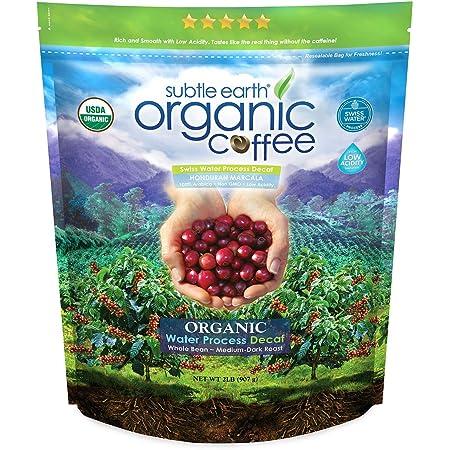 2LB Subtle Earth Organic Decaf - Swiss Water Process Decaf - Medium Dark Roast - Whole Bean Coffee - Low Acidity - Organic Certified by CCOF - 2 Pound Bag