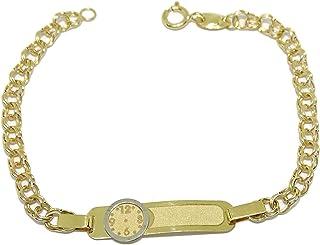 Pulsera de Oro Amarillo y Oro Blanco de 18Ktes para bebé. 14cm