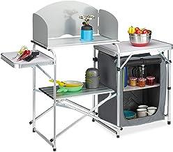 Relaxdays Campingkeuken met windscherm, inklapbaar, draagtas, campingkast, aluminium & MDF, hxbxd: 111x147x46 cm, wit-grijs