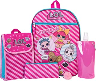 L.O.L. Surprise Backpack Combo Set - Girls' 6 Piece Backpack Set - L.O.L. Surprise Backpack & Lunch Kit (Hot Pink)