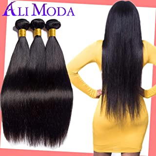 Ali moda Human Hair 3 Bundles Virgin Unprocessed Human Hair Wefts 8A Brazilian Straight Hair Mixed Lengths 100% Human Hair Extensions 22 20 18inch
