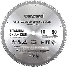 Concord Blades WCB1000T080HP 10-Inch 80 Teeth TCT General Purpose Hard & Soft Wood Saw Blade