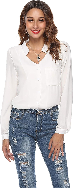 LYHNMW Women Casual V-Neck Long Sleeve Loose Chiffon Blouse Shirt Tops