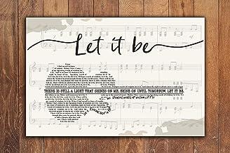 yokoisaya99store The Beatles, Let it be Lyrics, Horizontal Paper Poster No Frame, Song Lyrics Poster, Music Poster, Wall D...