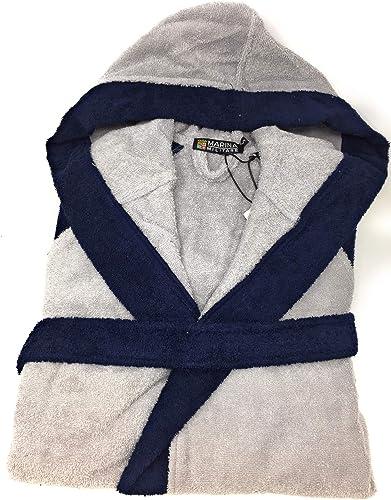Marina Militare Peignoir pour Homme avec Capuche en éponge Pure à Bouclette 420 g m2 Art. 97526 mm. Médium gris Bleu 279l