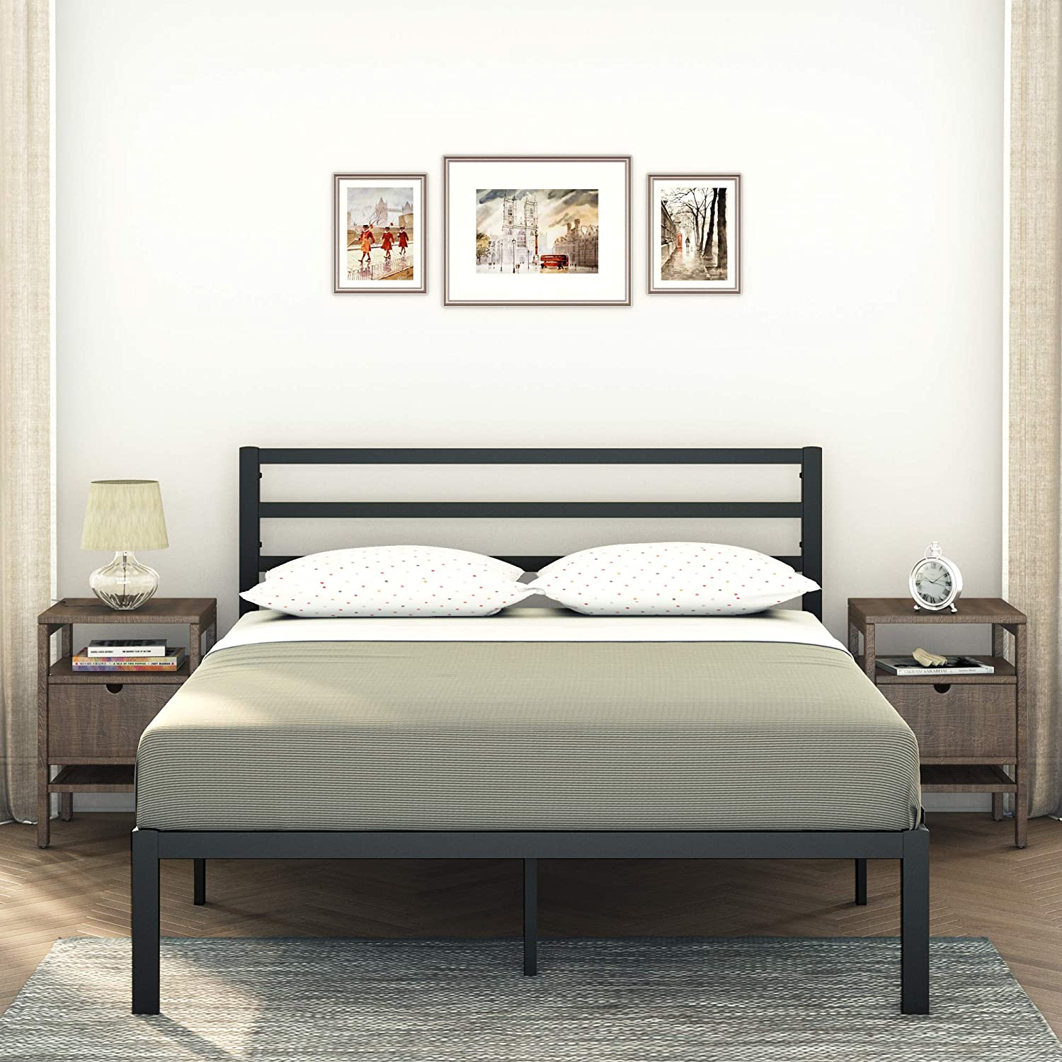 AMBEE21 – Modern Queen Platform Frame Headbo Ranking TOP11 Dallas Mall Bed with Metal