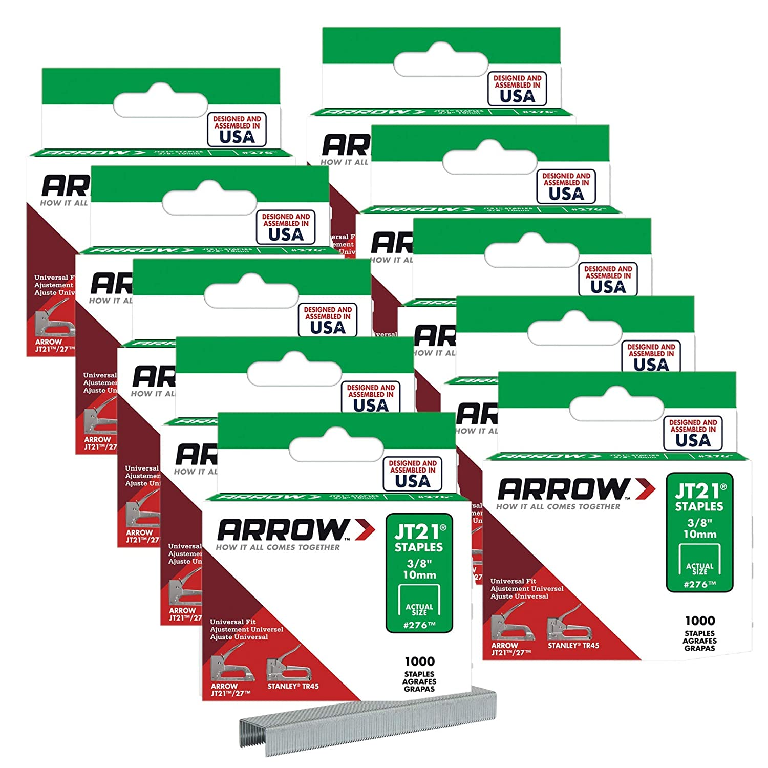 Cheap mail order shopping Arrow Seattle Mall Fastener 276 Genuine JT21 T27 3 1 Staples Pack 8-Inch 10