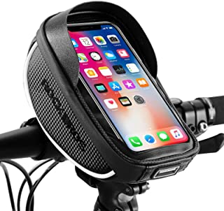 ROCKBROS Bike Phone Mount Bag Bike Front Frame Handlebar Bag Waterproof Bike Phone Holder Case...