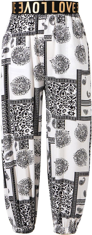 Aislor Girls Letter Print Hippy Harem Pants Boho Cropped Bloomers Pants Dance Yoga Sport Pilates Baggy Trousers