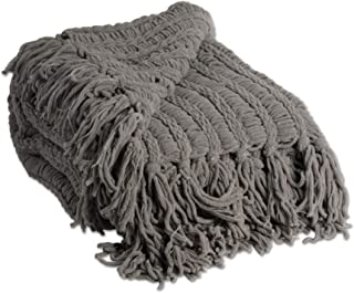 J&M Home Fashions 2173A Luxury Chenille Woven Knitted Throw Blanket with Fringe, Reversible, Soft, Warm for Bed, Chair, Couch, Camping, Beach, or Travel, 50x60, Gray