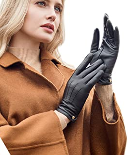 Womens Wool Lined Winter Genuine Leather Gloves Touchscreen Three Points