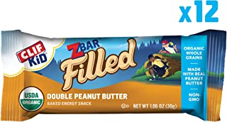CLIF KID ZBAR FILLED - Organic Granola Bars - Double Peanut Butter - (1.06 Ounce Energy Bars, Kids Snacks, 12 Count)