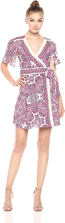 BCBGMAXAZRIA Womens Kylie Short Flutter Sleeve Woven Wrap Dress Dress