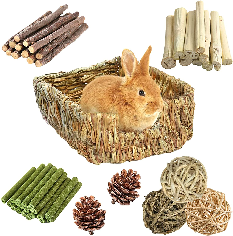 Hamiledyi Rabbit Grass Bed for Bunny Rabbits 20 S Chew Toys Pcs ...