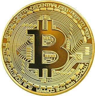 2X Moneda de Bitcoin f/ísica con Chapado en Oro Real de 24 Quilates Pieza de coleccionista verdadera con Funda Protectora