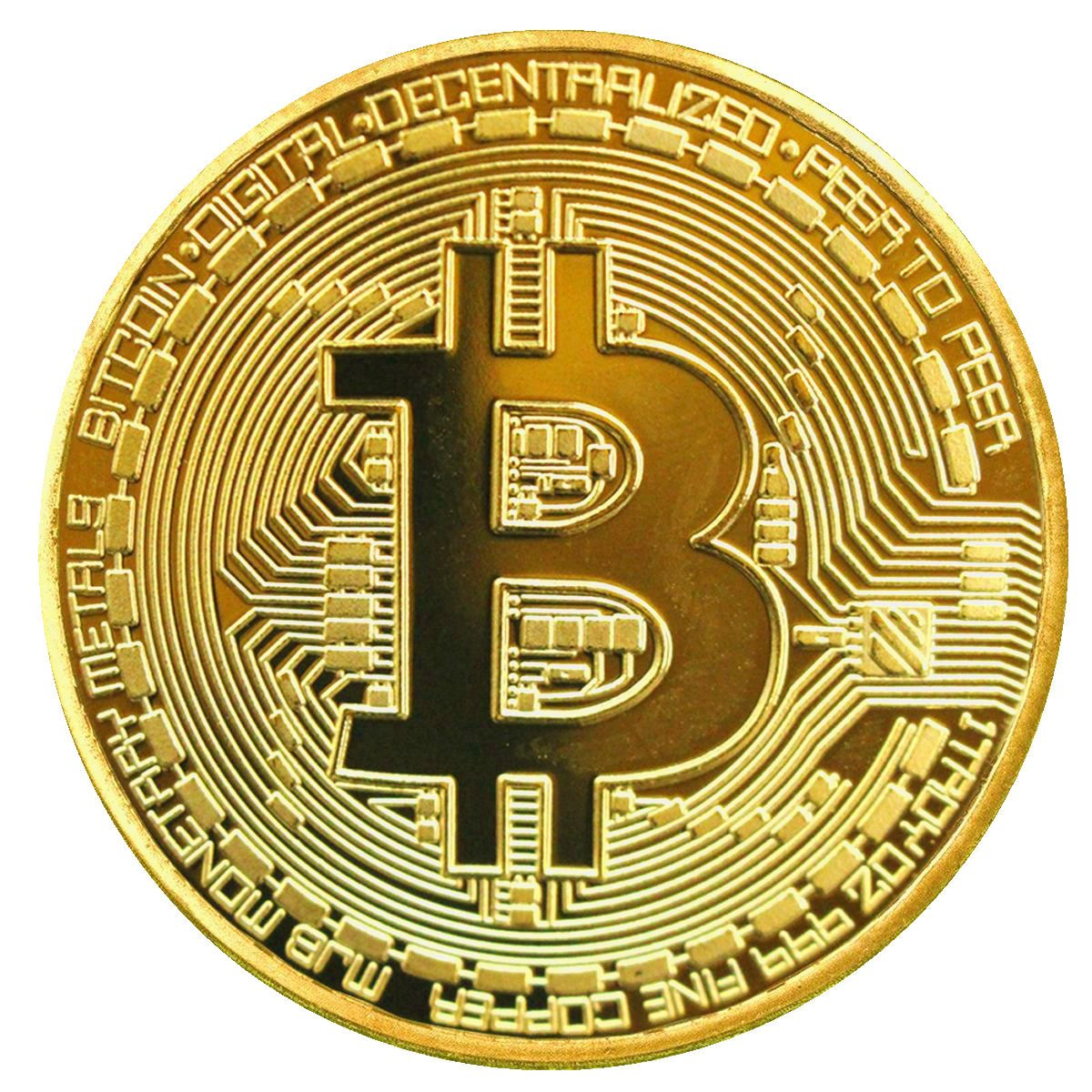 1Pcs Rare Collectible Golden Iron Bitcoin Commemorative Plated Miner Coin Gift