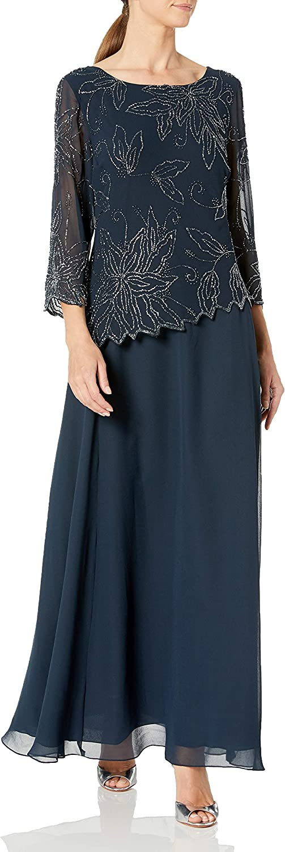 J Kara Women's BOAD Neck Asymetrical Beaded Dress