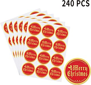 Merry Christmas Stickers Gold Foil Christmas Envelope Stickers Round Christmas Label Decals for Cards Gifts(240 PCS)