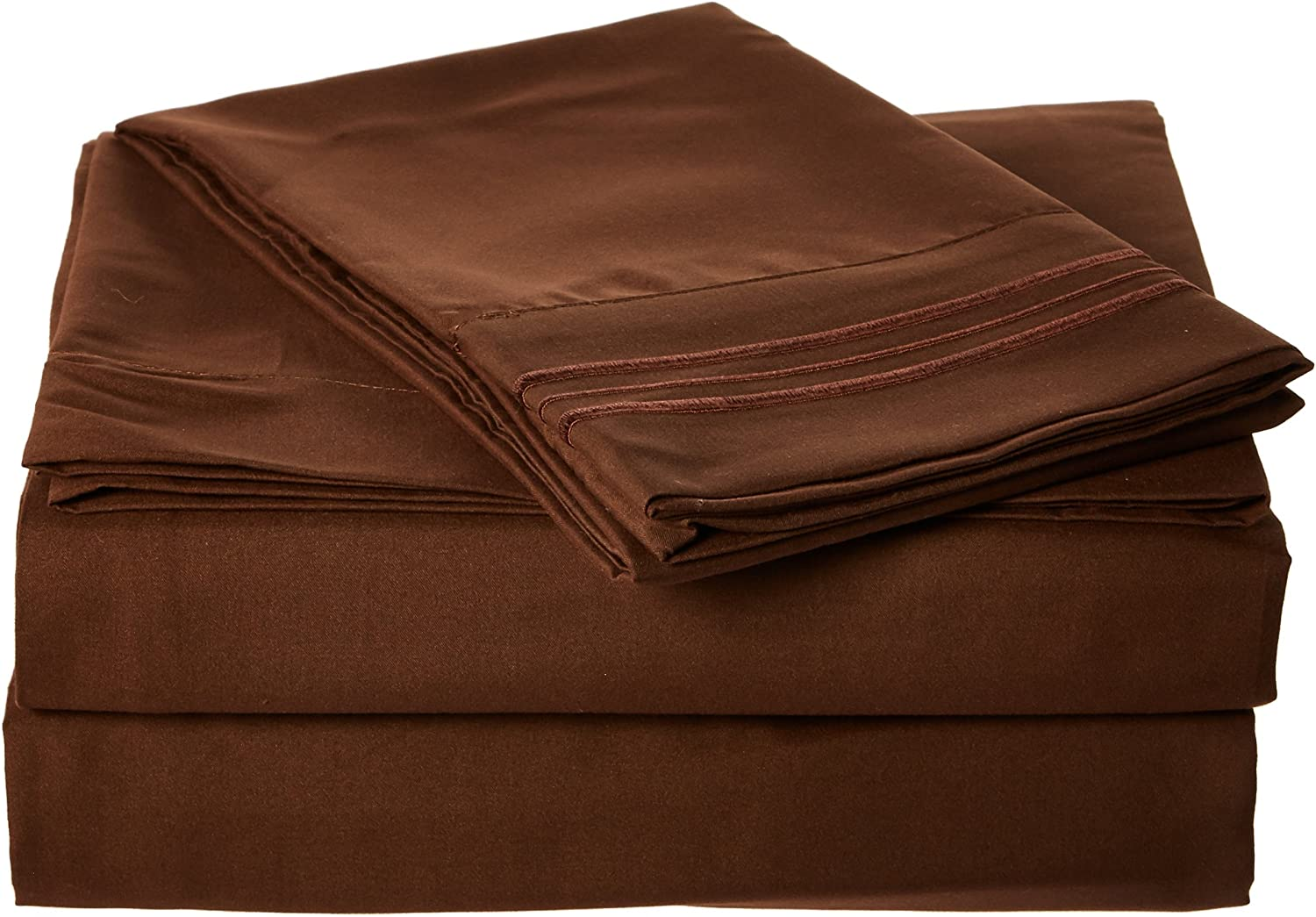Sweet Home Collection 3 Piece 2000 12 Colors Collection Egyptian Quality Deep Pocket Bed Sheet Set, Twin, Brown