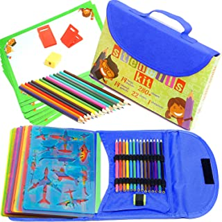 Stencil Drawing Kit for Kids w/Carry Case - 54 pcs. w/ 280 Stencil Shapes and Colored Pencils - Arts and Crafts for Home Travel - Fun Creative STEM Toy for Girls and Boys Ages 3 to Teen - Blue