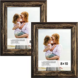Langdon House 8x10 Real Wood Picture Frames (2 Pack, Barnwood Brown - Gold Accents), Brown Wooden Photo Frame 8 x 10, Wall Mount or Table Top, Set of 2 Lumina Collection