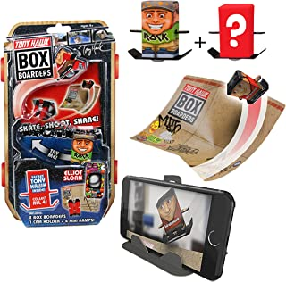Tony Hawk Box Boarders Action Pack - Elliot Sloan and Mystery Tony Hawk Figure - Includes 2 Skaters, 4 Trick Ramps and 1 Camera Holder - Skate, Shoot, Share - Ages 4+