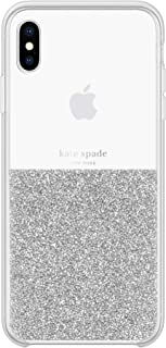 kate spade new york Silver Crystals Half Clear Case for iPhone Xs Max - Protective Phone Case with Crystal Gems