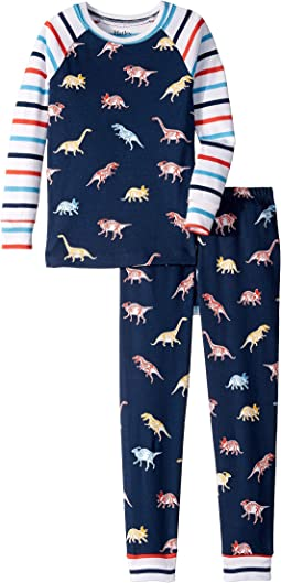 Glowing Fossils Organic Cotton Raglan Pajama Set (Toddler/Little Kids/Big Kids)