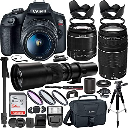 $599 Get Canon EOS Rebel T7 DSLR Camera with EF-S 18-55mm is II & EF 75-300mm III Canon Lenses + 500mm Preset Lens with 2X Teleconverter (1000mm) + Premium Accessory Bundle