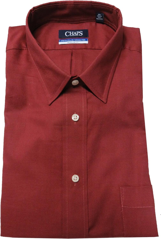 Chaps Men's Regular-Fit Long Sleeve Elite Performance Dress Shirt, Red (Neck 17.5 Sleeve 36/37)