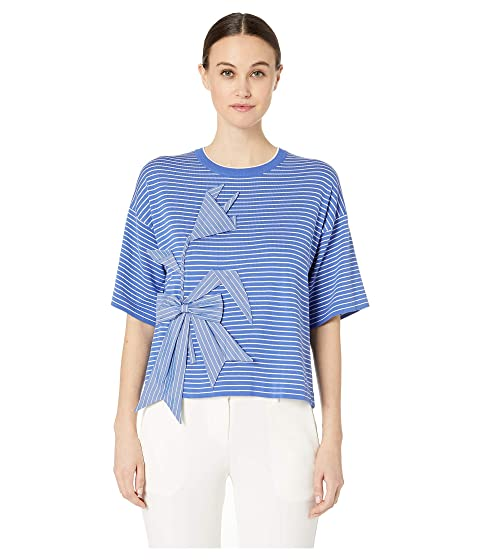 Boutique Moschino Short Sleeve Applique Striped Crew Neck Sweater