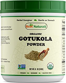 Best Naturals Certified Organic Gotu kola Powder 8.5 OZ (240 Gram), Non-GMO Project Verified & USDA Certified Organic